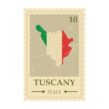 Tuscany map postage stamp 向量圖像