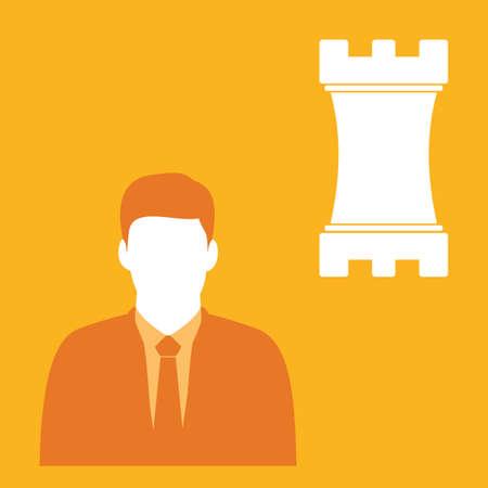 businessman and chess piece Иллюстрация