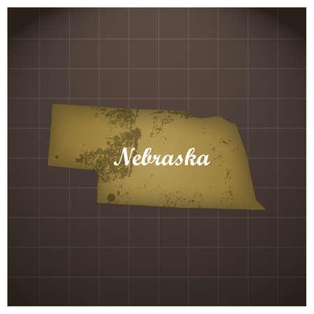 ネブラスカ州地図  イラスト・ベクター素材