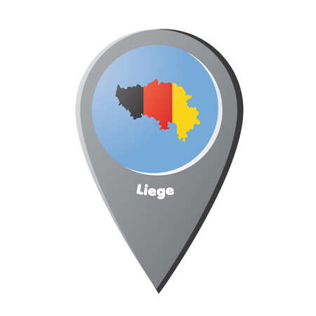 Map pointer with liege map Ilustração