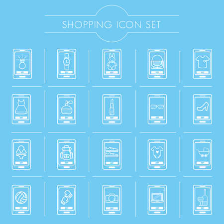 mobile shopping icon set Illustration