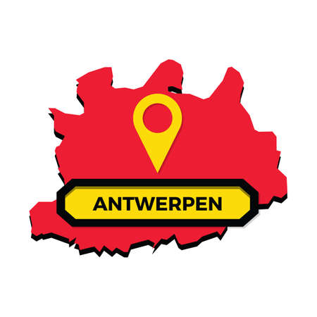 Antwerpen map with map pointer Illustration