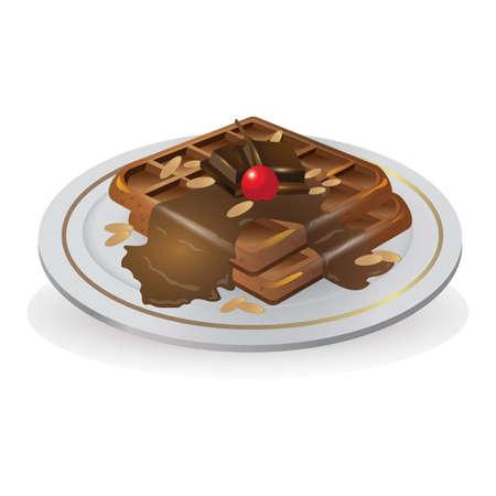 초콜릿 와플 일러스트