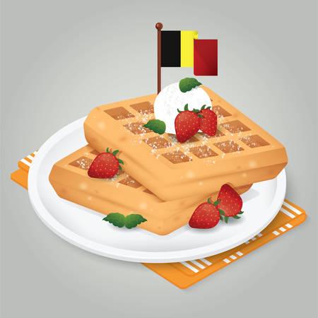 딸기 와플