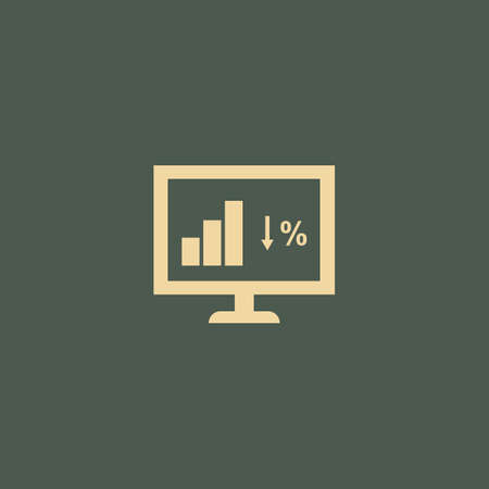 monitor with bar graph Ilustrace