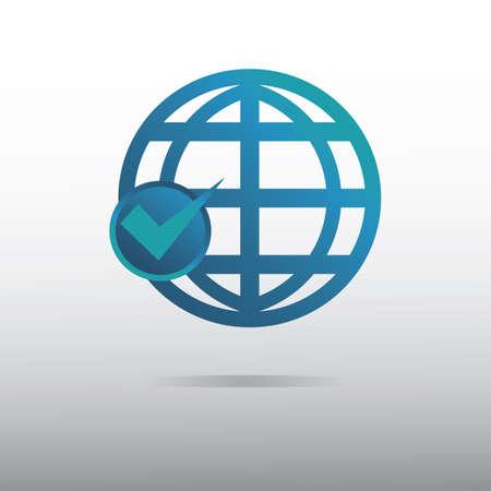 globe icon with tick mark 向量圖像