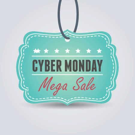 etiqueta de venta de cyber monday Ilustración de vector