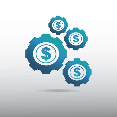 cogwheels with dollar symbol Ilustração