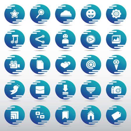 social media icon set Illusztráció