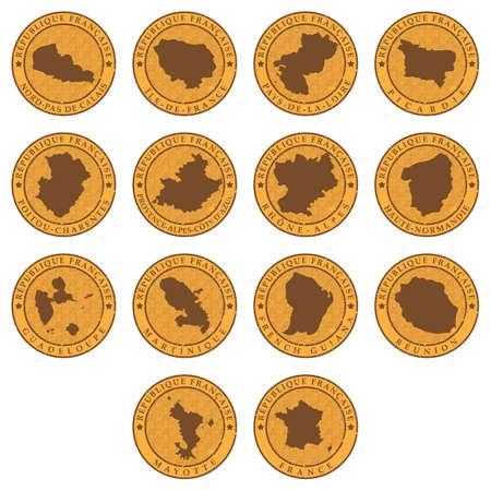 ensemble de cartes de la province de france Vecteurs