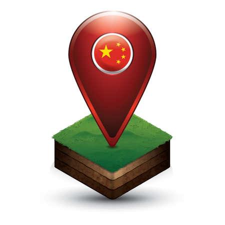 중국 국기와 탐색 포인터