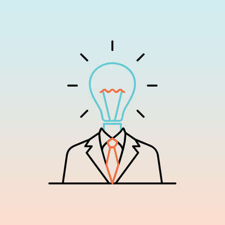 businessman with bulb head