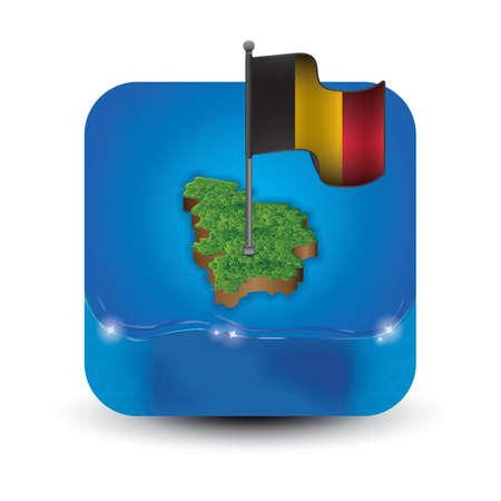 국기가있는 벨기에지도 일러스트