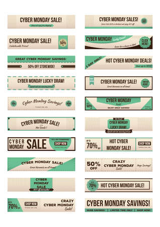 set of cyber monday sale banners Illustration