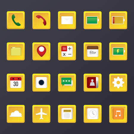 fm: set of mobile application icons
