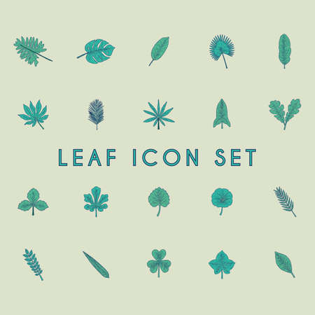 leaf icon set Ilustrace