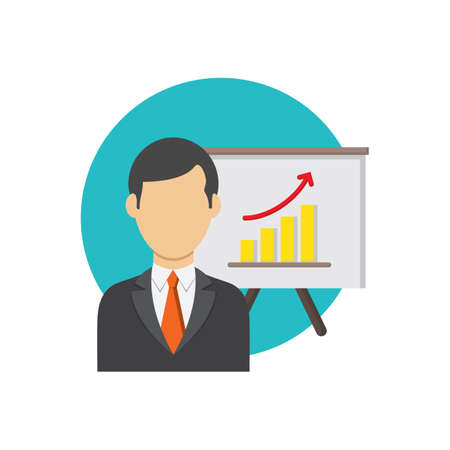 businessman and progress chart Ilustração
