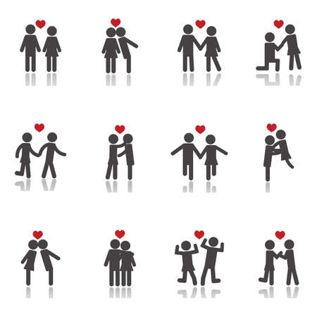 collection of couple icons Illustration