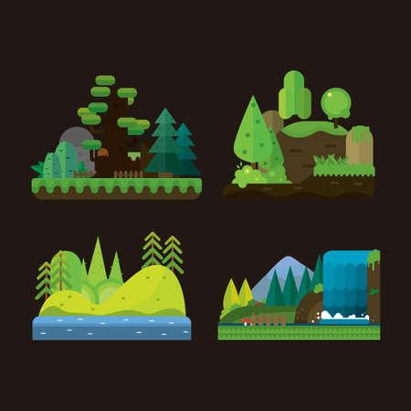 set van landschappen van de natuur