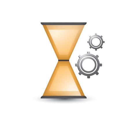 砂時計と歯車  イラスト・ベクター素材