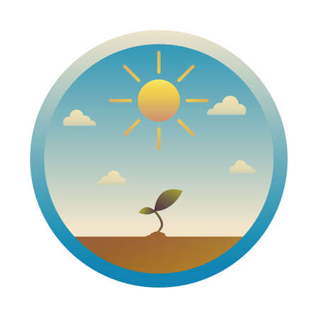 sun and sapling Illustration