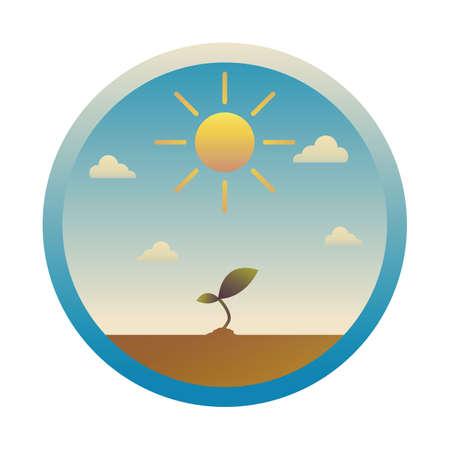 sun and sapling 向量圖像