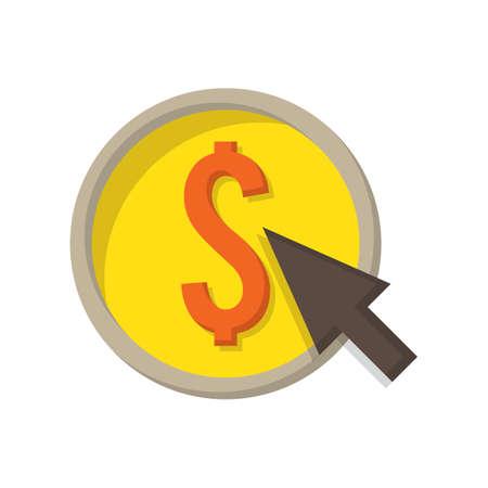 カーソルでドル硬貨  イラスト・ベクター素材