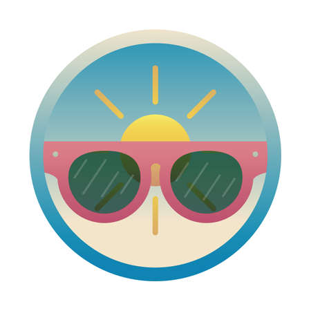 sun with sunglasses Illustration