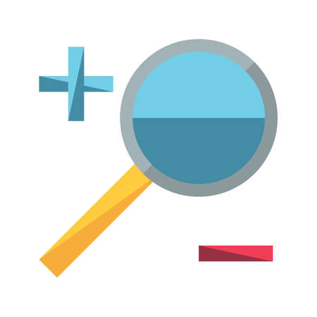 magnifier with plus and minus sign Illustration