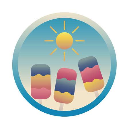 sun with ice cream stick Illustration