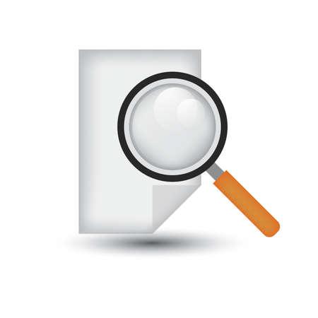 document blad met vergrootglas Stock Illustratie