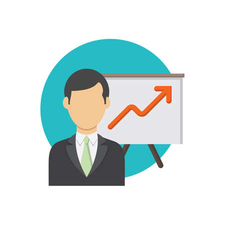 ビジネスマンおよびグラフのグラフ