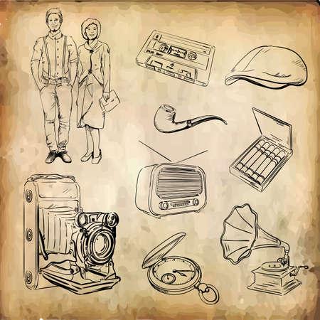 set of retro icons Illusztráció