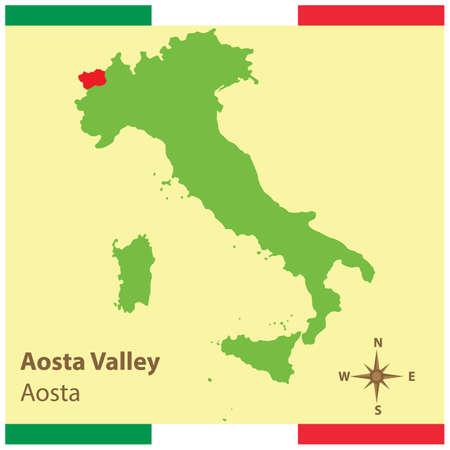 ヴァッレ ・ ダオスタ州イタリア地図  イラスト・ベクター素材