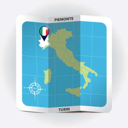 Puntero del mapa que indica Piemonte en el mapa de Italia Foto de archivo - 81590263