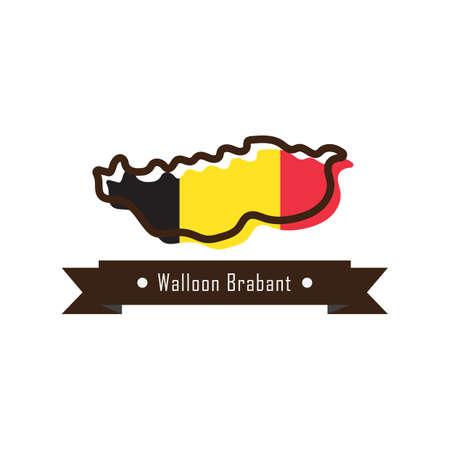 walloon brabant map Ilustração