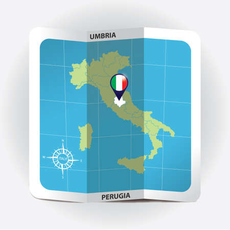 Map pointer indicating umbria on italy map