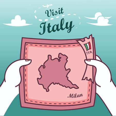 Handen met milan papier kaart Stock Illustratie