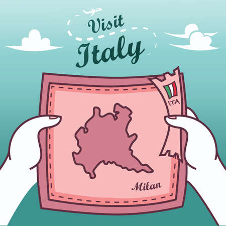 Hands holding milan paper map