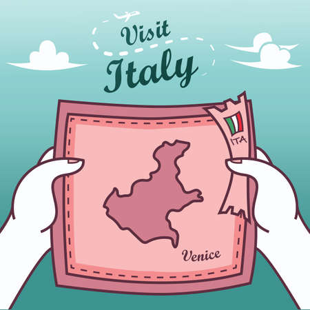 hands holding venice paper map
