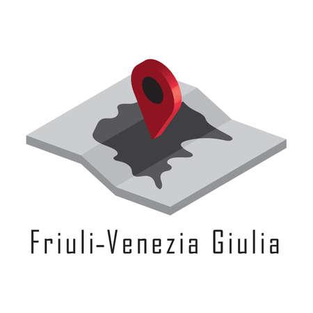 지도 포인터가있는 friuli-venezia giulia지도