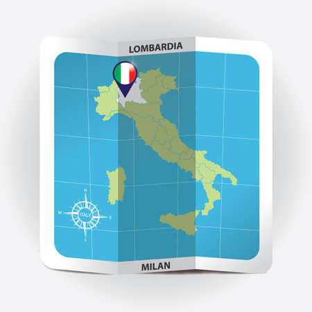 Map pointer indicating lombardy on italy map