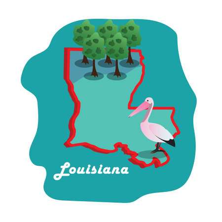 Mapa del estado de Luisiana con pelícano marrón del este Foto de archivo - 81484881