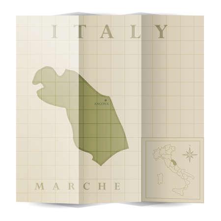 Marche paper map Illustration