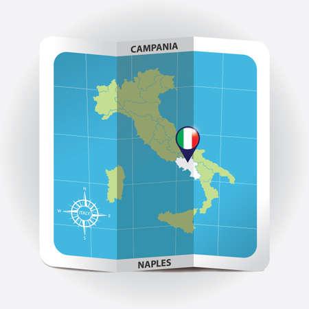 Ponteiro do mapa indicando campania no mapa da Itália Foto de archivo - 81590271