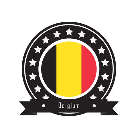 belguim flag label Illustration