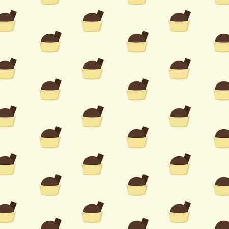 ミニ チョコレート デザートと背景  イラスト・ベクター素材