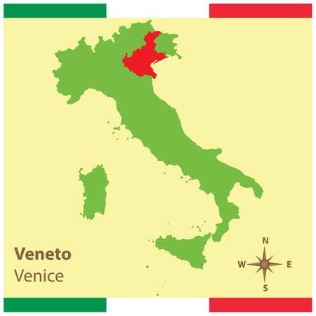 veneto op de kaart van Italië Stock Illustratie