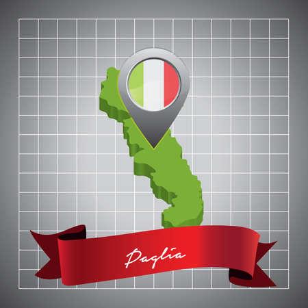 Puglia kaart met kaartaanwijzer
