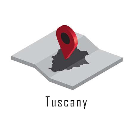 지도 포인터가있는 투스카니지도
